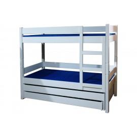 מיטת קומותיים עץ מלא עם שתי מיטות נגררות דגם K-44L