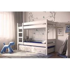 Кровать двухъярусная с третьей и ящиками
