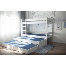 Двухярусная кровать с выдвижной третьей и четвертой кроватью .