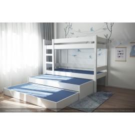 Двухярусная кровать с выдвижной третьей кроватью и 3 ящиками для хранения вещей или игрушек.