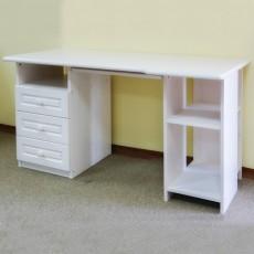 שולחן כתיבה 3 מגירות ומדף עץ מלא לבן דגם 307L