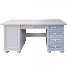 שולחן כתיבה עץ מלא - שולחן כתיבה מפואר מעץ מלא צבע לבן דגם 3026L