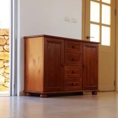 קומודה מעוצבת - שידה מעץ מלא עם 4 מגירות ודלתות עץ מלא דגם 228