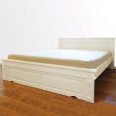 מיטה זוגית מפוארת עץ מלא צבע לבן