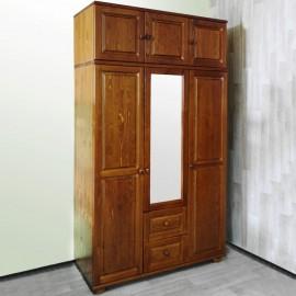 ארון בגדים מעץ מלא 3 דלתות 2 מגירות עם מראה ותאים