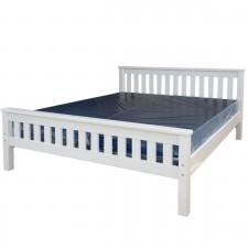 מיטות זוגיות מעץ - מיטה זוגית עץ מלא צבע לבן דגם סנטינו 2