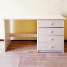 שולחן מחשב מעץ מלא עם 4 מגירות בצבע לבן