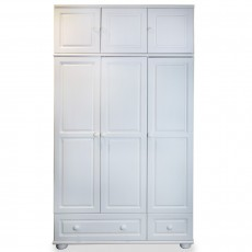 ארון 3 דלתות 2 מגירות ותאים עץ מלא צבע לבן