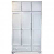 ארון 3 דלתות 2 מגירות עם מראה ותאים עץ מלא לבן
