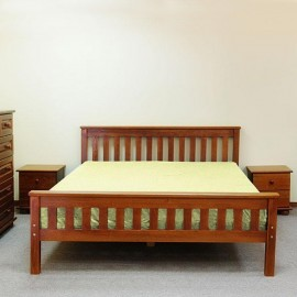 Wooden double bed Santini color walnut
