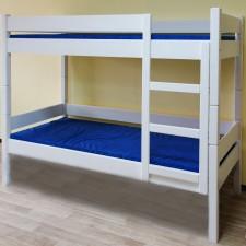 מיטות מעץ מלא - מיטת קומותיים עץ מלא עם מיטה שלישית ומגירות דגם 521