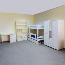 חדר ילדים עץ מלא לבן דגם מדיירה