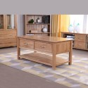 OAK COFFEE TRUNK TABLE WITH DRAWERS