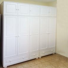 ארון בגדים מעץ מלא 5 דלתות ו3 מגירות גדולות דגם 553L
