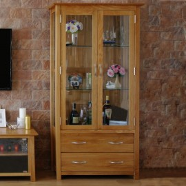 OAK GLAZED DISPLAY CABINET london