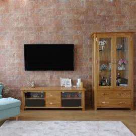 סט וטרינה ומזנון טלויזיה מעץ מלא דגם לונדון