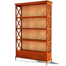 A solid wood library, 2 glass doors and 2 doors, model 400