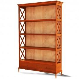 ספרייה מעוצבת עץ מלא עם מגירה דגם E46