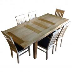שולחן אוכל 2 מטר כולל 6 כסאות עץ מלא