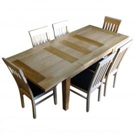 שולחן אוכל נפתח 2 מטר עץ מלא אלון
