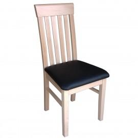 רהיטים מעץ מלא - כיסא מעץ מלא בוק ריפוד שחור
