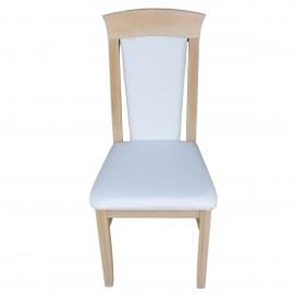 כיסא מעץ מלא בוק ריפוד לבן