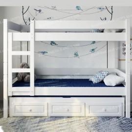 מיטת קומותיים עץ מלא עם מיטה שלישית ומגירות דגם K-33L