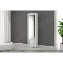 ארונות מעץ מלא - ארון מדפים עם מראה בצבע לבן