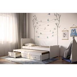 מיטת ילדים עץ מלא עם מיטה נגררת ו3 מגירות דגם 516L