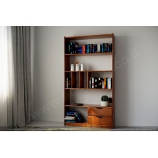 כוורת ספריה מעץ מלא 2 מגירות דגם 235