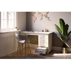 שולחן מחשב כתיבה עץ מלא 4 מגירות לבן
