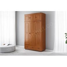 ארון בגדים מעץ מלא 3 דלתות 2 מגירות ותאים