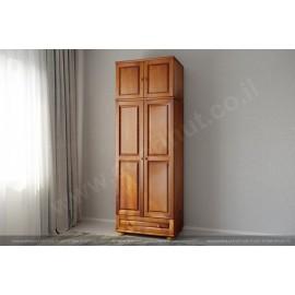 ארון מעץ מלא 2 דלתות ומגירה גדולה צבע אגוז
