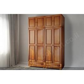 ארון בגדים מעץ מלא 4 דלתות ו2 מגירות גדולות דגם 442