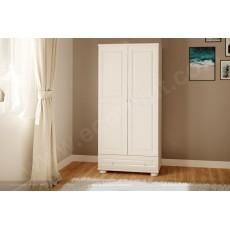 ארונות מעץ מלא - ארון 2 דלתות עץ מלא צבע לבן דגם 21L