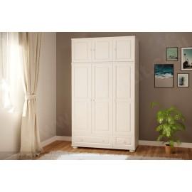 ארון בגדים מעץ מלא 3 דלתות 2 מגירות ותאים צבע לבן